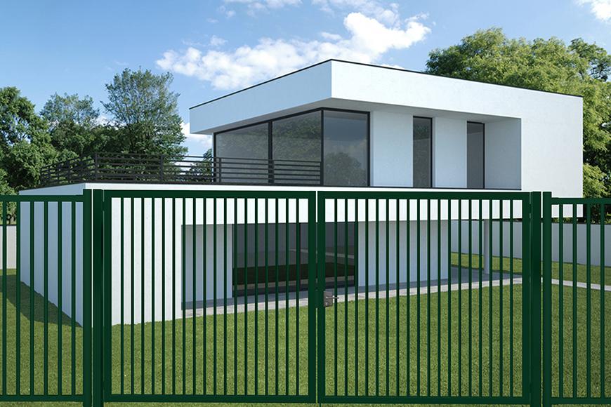 Puerta batiente Rondo Plus instalada en una casa minimalista